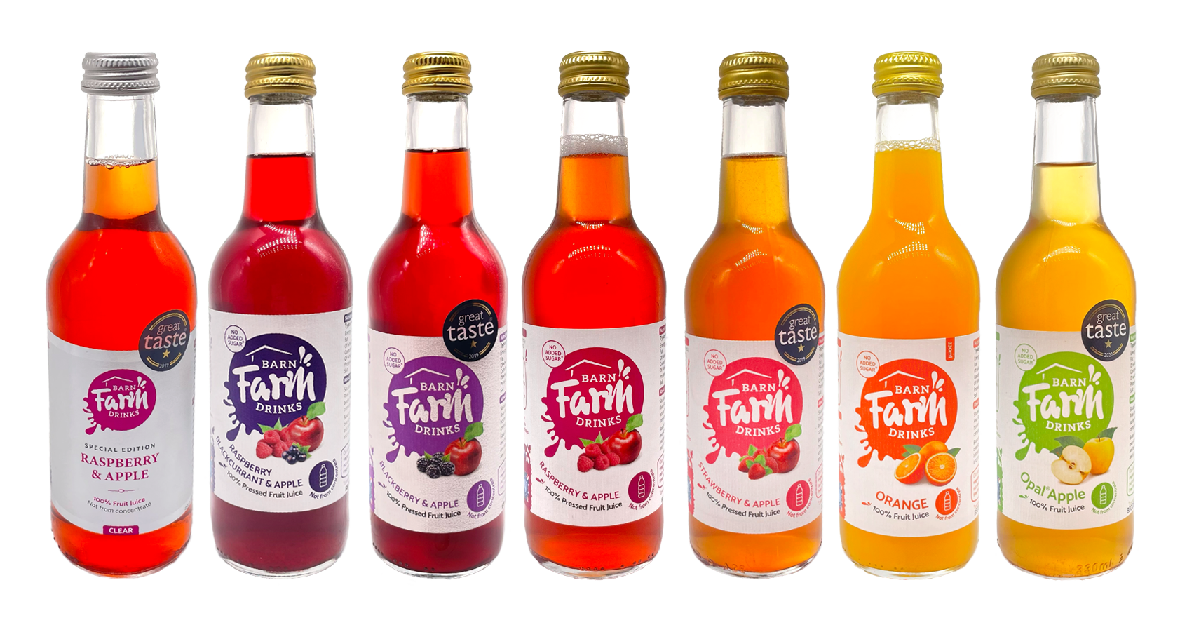 Picture of all flavours and sizes of bottles